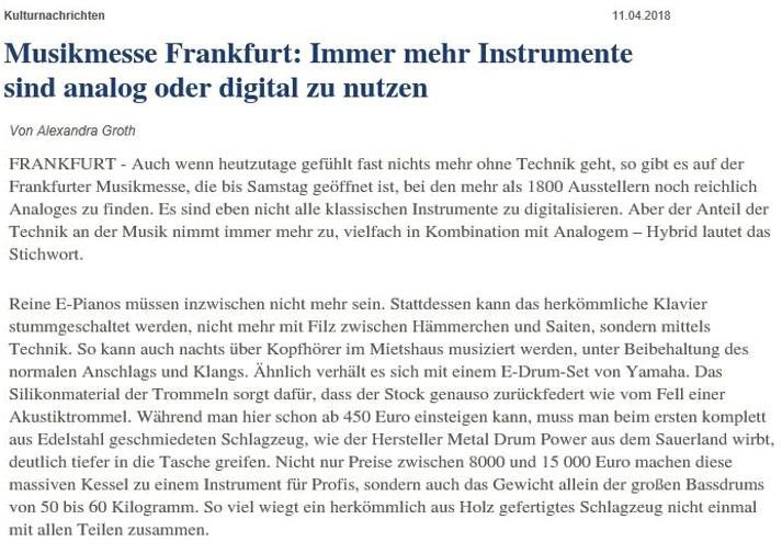 Allgemeine Zeitung Frankfurt Metal Drum Power